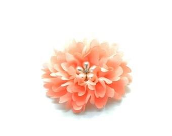"3"" Peach Chiffon Flower with Pearl Flower Button, Headband Flower, Fabric Flower, DIY Headband."