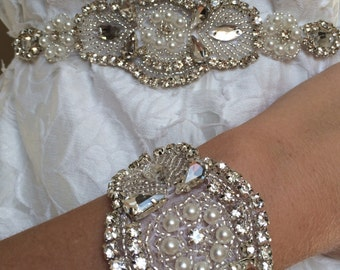 Bridal accessories pearl rhinestone beaded lace wedding ''Siena'' cuff with white satin bow vintage style