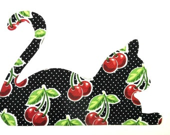Iron On Applique Patch, Cherry Kitty Cat, Feline Tote Accent, Kitchen Towel Trim, Curtain Embellishment, Cat Mug Rug, Cherry Place Mat Trim