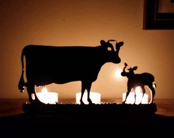 Cow and Calf Steel Candle Holder