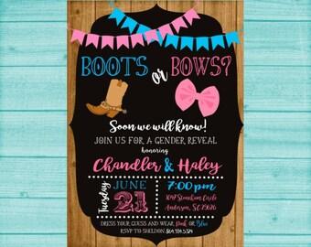 Gender Reveal Invitation, Boots or Bows Gender Reveal, Gender Reveal Party, Boy or Girl, Rustic, Chalkboard, Printed or Printable