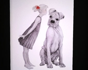 Dog Pencil Artwork - Bullmastiff Pencil Drawing - Red Bow Detail -  Perfect Gift for Dog Lovers - Dog Art