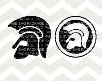 Spartan Helmet Silhouette, Spartan SVG, Warrior Svg, Military Silhouette cut files for Silhouette and circuit, Greek Warrior clipart, Helmet