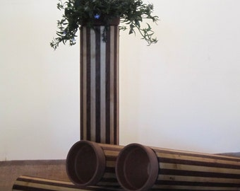 wood tube planter