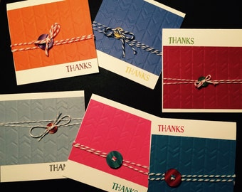 Thank You Cards - Buttons & Baker's Twine (set of 6 cards)