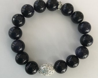 Onyx and silver plated crystal pave bracelet