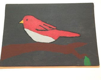 Original bird on branch 5x7