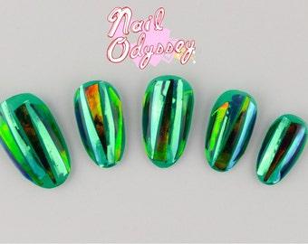 Shattered Glass Opal Green Gel Press on Nails -Set of 15