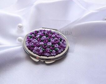 "Декорированное карманное зеркальце - ""Flower meadow"""