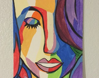 Colorful Woman Face 8x10 Canvas Board