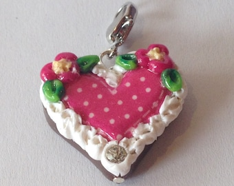 Charm gingerbread-heart pink