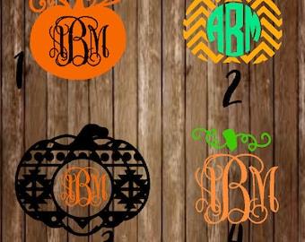 Pumpkin Monogram Decal-Pumpkin Monogram-Pumpkin Decal-Pumpkin-Thanksgiving Monogram-Halloween Monogram-Fall Monogram-Fall-Halloween-Decal