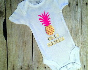 Hello sunshine pineapple gold/hot pink baby girl onesie