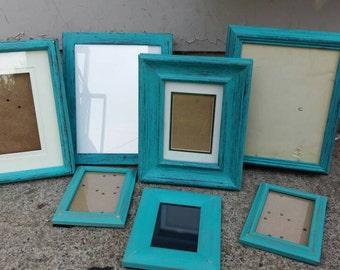 Photo frames Picture frames TURQUOISE frames Vintage frames Frame lot Distressed frames Antique picture frames Handpainted frames