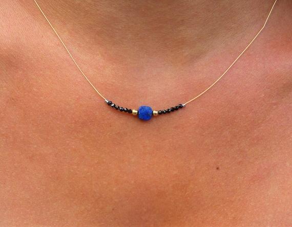 Lapis necklace & Black spinel - gold * gold filled 14 k