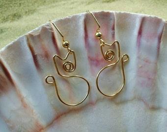 Gold Cat Earrings, Kitty Earrings, Wire Earrings, Wire Wrapped Earrings, Earrings, Jewelry, Hypoallergenic Earrings, Wire Earrings
