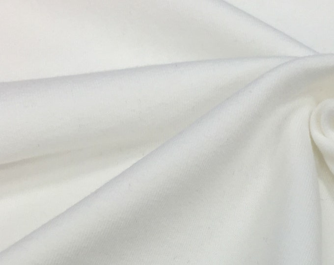 Soft and Stretchy Fleece Fabric By the Yard (Wholesale Price Available By the Bolt) USA Made Premium Quality - 5476F White - 1 Yard