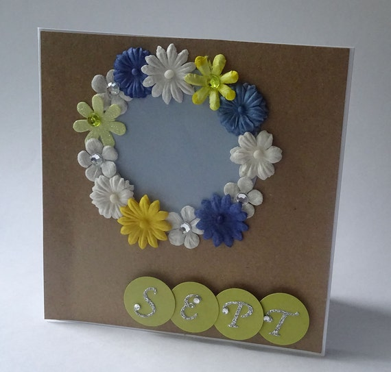 Greeting Cards - Handmade September Monthly Kraft Card with Flowers