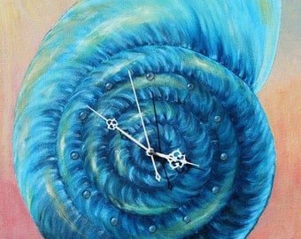 """Wall clock shell - Hand Painted Wall Clock on canvas - wall clock shell painting - wall art - """"Blue Shell on Pink"""""""