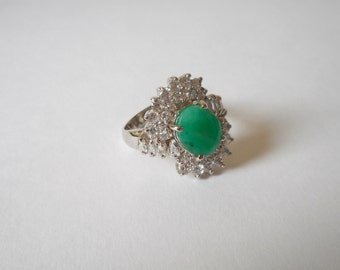Ring Oval Real Emerald  Engagement Ring/ Wedding Ring 925 Sterling Silver Ring Anniversary Ring Silver Gemstone Ring Cubic Zirkonia Ring