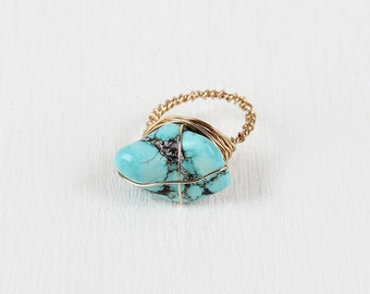 Faux Turquoise Stone Wire-Wrapped Ring - Gold