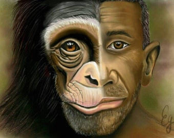 Digital Artwork Print or download inspired by evolution: Man and Chimpanzee unite
