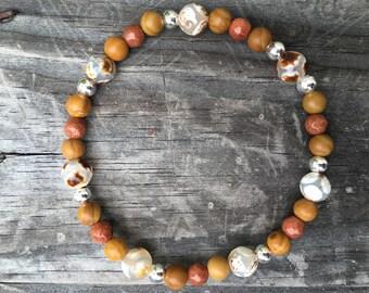 Tibetan Agate, Wood Jasper, Sandstone Stretch Bracelet