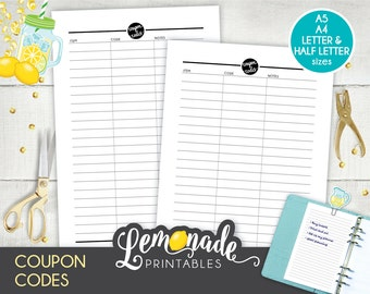 Coupon code etsy coupon planner insert printable coupon code planner insert coupon code keeper half letter coupon insert a5 fandeluxe Image collections