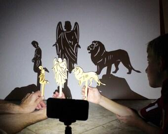 Daniel & the Lions Den 7 Piece Wood Shadow Puppet Set, Scripture Shadows, Puppet Theater, Bible Stories, Shadow Puppet, Hand Puppet, Bible