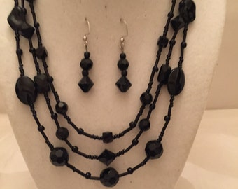Jet Black Multi Strand Necklace/Beaded Necklace/Multi Strand Necklace