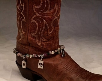 Peace, Love, and Faith Boot Bracelet Jewelry