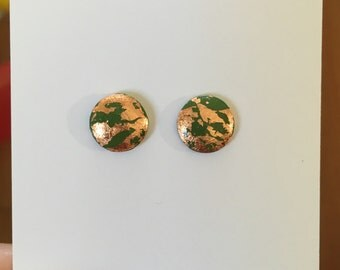 10mm Olive/Copper Leaf Dome Studs