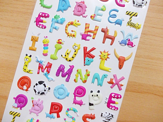 Alphabet Animal Puffy Stickers Raised Surface Sticker Puffy