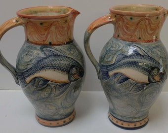 Handmade and decorated earthenware jug