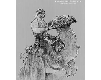 Star Wars Episode 5 Luke Skywalker Taun Taun - Sketch Drawing Zeichnung - Original
