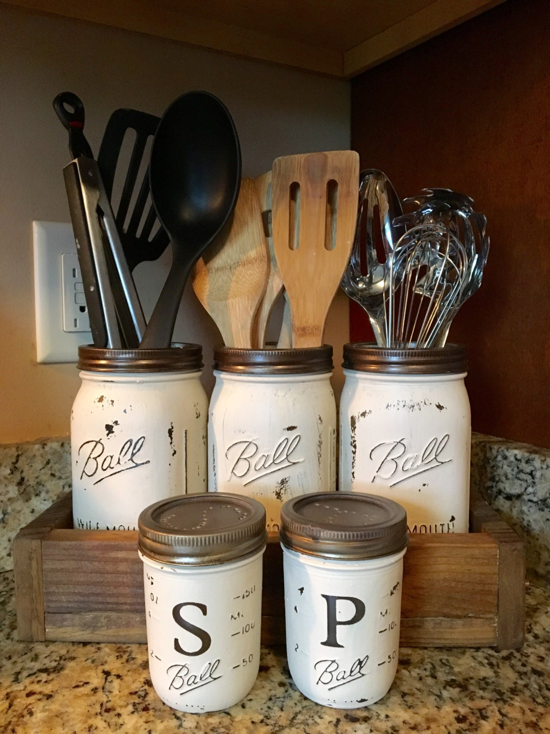 Utensil mason jar holder with salt and pepper shaker option for Kitchen jar decoration