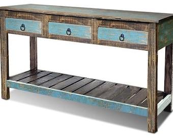 AQUA colored distressed wood Console Table