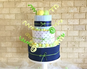 Green and Yellow Baby Boy Diaper Cake, Baby Shower Gift for Boy, Boy Baby Shower Diaper Centerpiece and Decoration