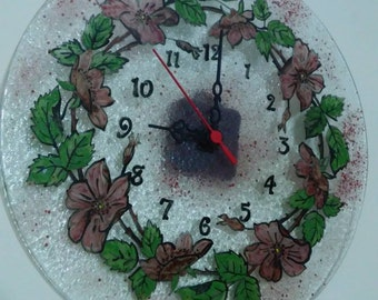 Glass fusing clock on the wall