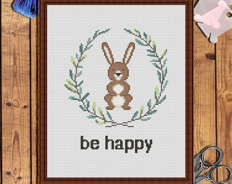 Be happy Hand embroidery pattern pdf Bunny printable cross stitch pattern Baby girl cross stitch Baby embroidery pattern Baby shower gift