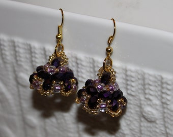 Purple beaded handmade earrings; beadweaving