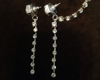 Rhinestone cuff earrings