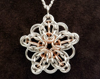 """Celtic Star Pendant in Sterling Silver & 14kt Rose Gold Fill with 18"""" Chain"""