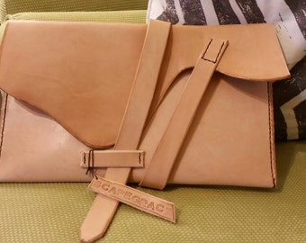 All leather hand made hand stiched clutch