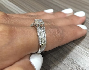Vintage Style Certified Radiant Cut Diamond Engagement Ring made in 14k WHITE GOLD