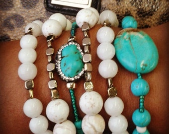 white and turquoise stack