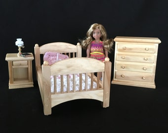 """Bedroom Set for American Girl Mini Doll and all other 6.5"""" Dolls - Natural Finish"""