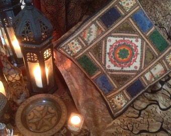 Hand embroidered patchwork gypsy cushion cover (ethnic, boho, bohemian)