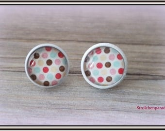 """White cabochon earrings """"Spotted"""""""