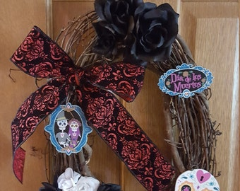 Oval Day of the Dead Halloween Wreath Dia De Los Muertos Halloween Wreath with Flowes and Rose
